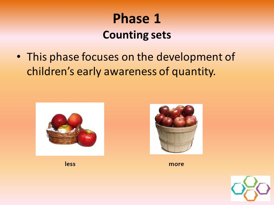 Phase 1 Counting sets This phase focuses on the development of children's early awareness of quantity.