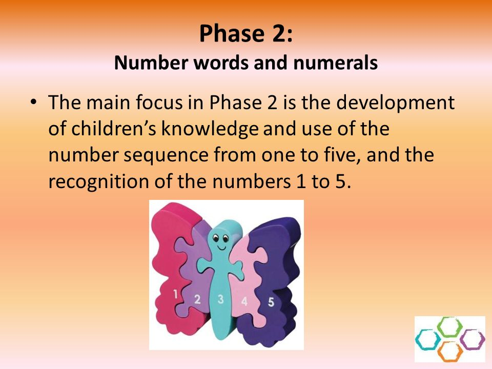 Phase 2: Number words and numerals