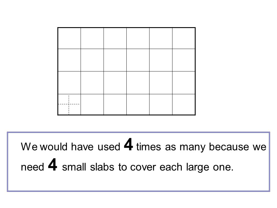 We would have used 4 times as many because we need 4 small slabs to cover each large one.