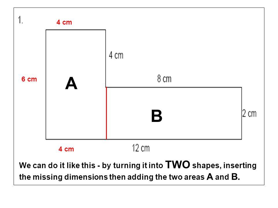 4 cm A. 6 cm. B. 4 cm.