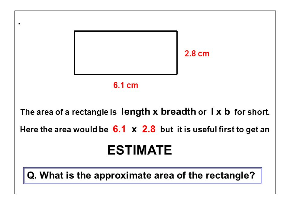 . Q. What is the approximate area of the rectangle 2.8 cm 6.1 cm
