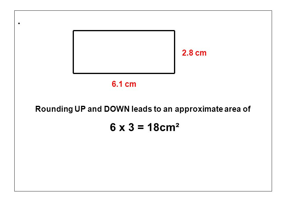 . 2.8 cm 6.1 cm Rounding UP and DOWN leads to an approximate area of