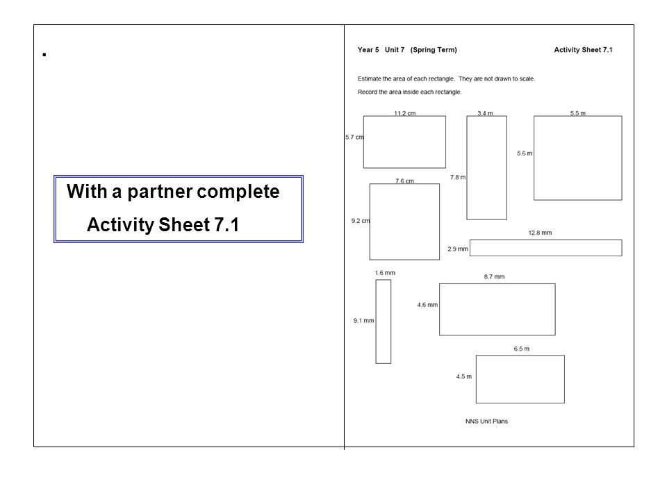 . With a partner complete Activity Sheet 7.1