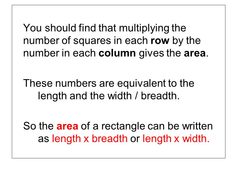 You should find that multiplying the number of squares in each row by the number in each column gives the area.