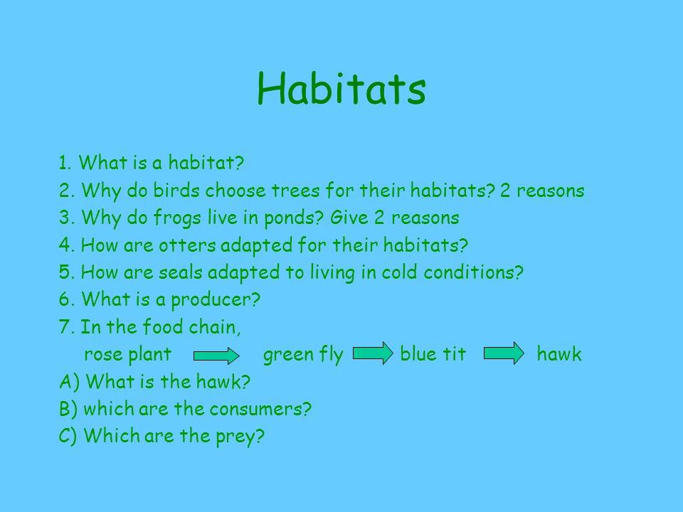 Habitats 1. What is a habitat