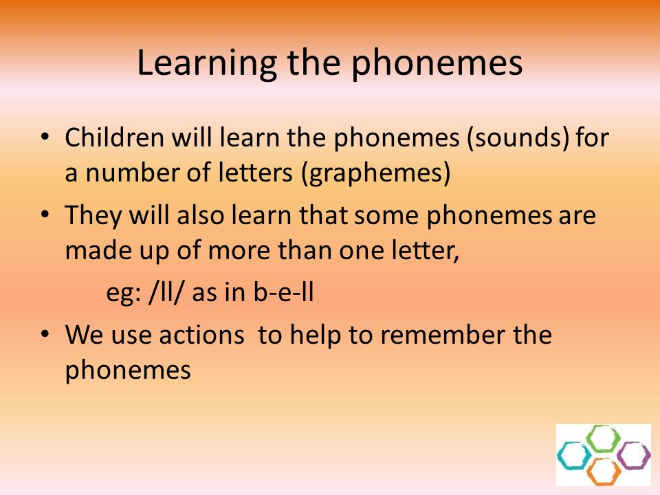 Learning the phonemes Children will learn the phonemes (sounds) for a number of letters (graphemes)
