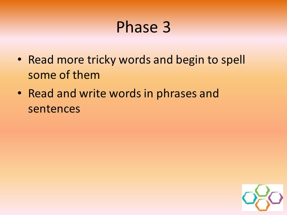 Phase 3 Read more tricky words and begin to spell some of them