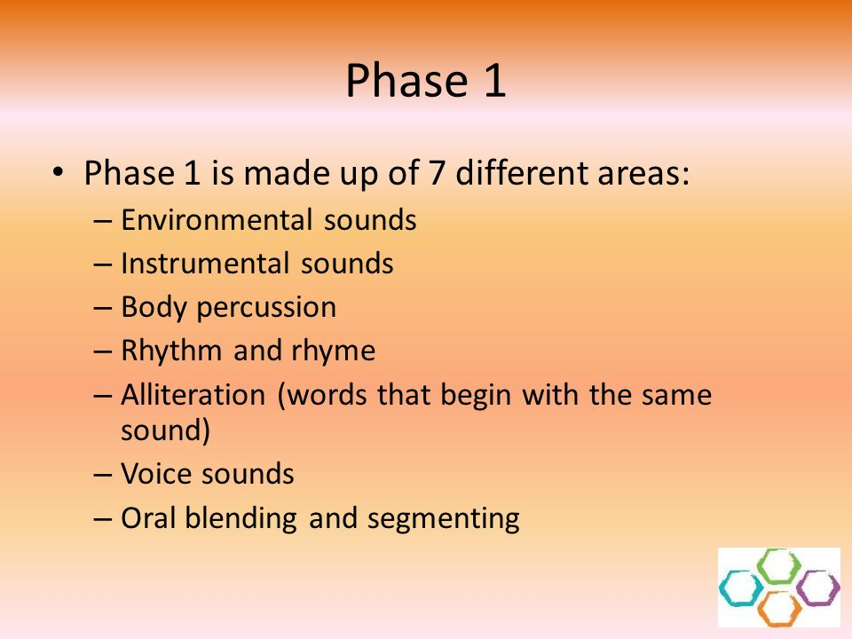 Phase 1 Phase 1 is made up of 7 different areas: Environmental sounds
