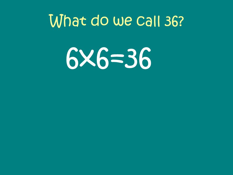 What do we call 36 6x6=36. Discuss the list of factors. Agree that 36 is special as one factor pair has 2 identical numbers i.e. 6.