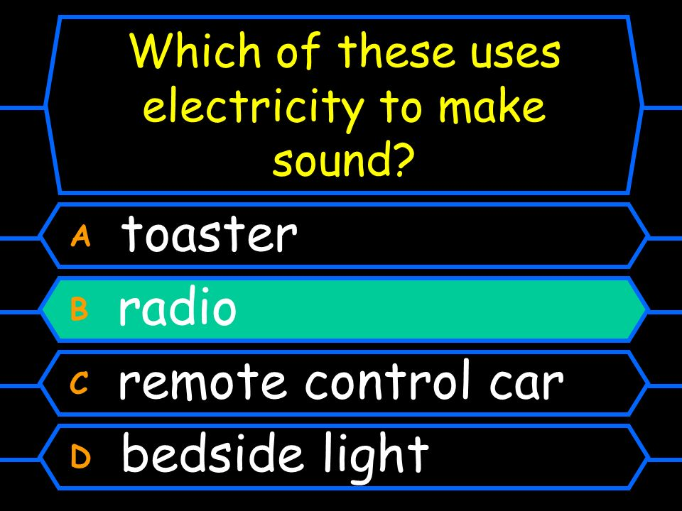 Which of these uses electricity to make sound
