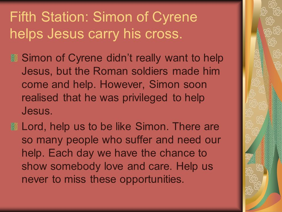 Fifth Station: Simon of Cyrene helps Jesus carry his cross.