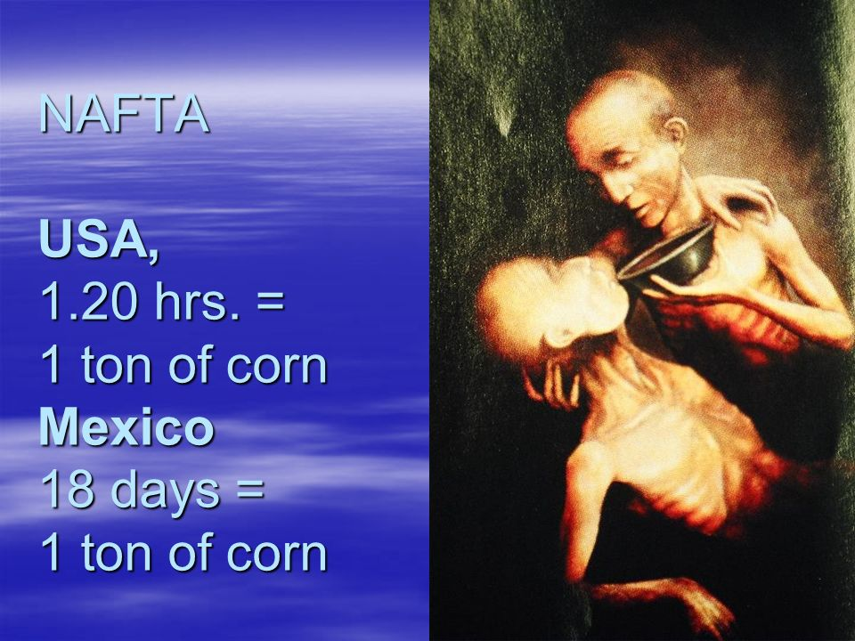 NAFTA USA, 1.20 hrs. = 1 ton of corn Mexico 18 days = 1 ton of corn