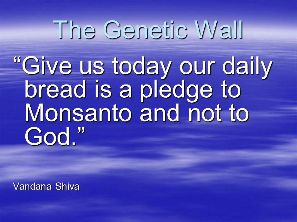 The Genetic Wall Give us today our daily bread is a pledge to Monsanto and not to God. Vandana Shiva.