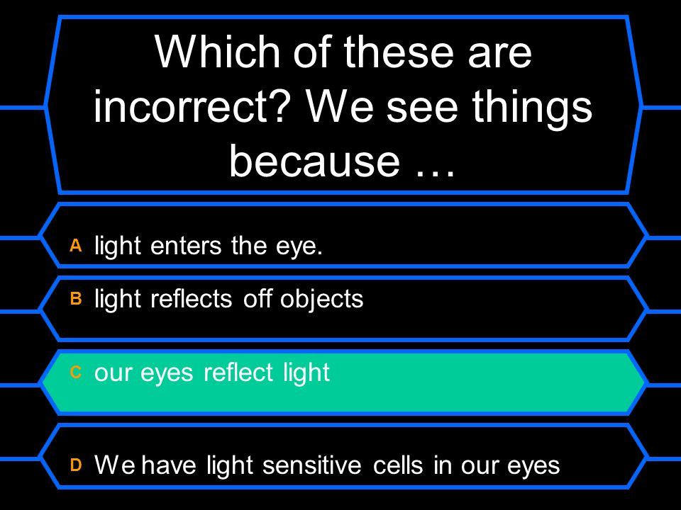 Which of these are incorrect We see things because …