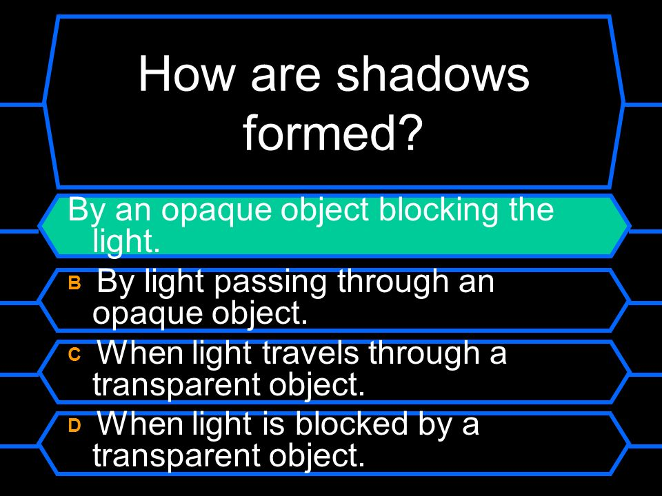 How are shadows formed By an opaque object blocking the light.