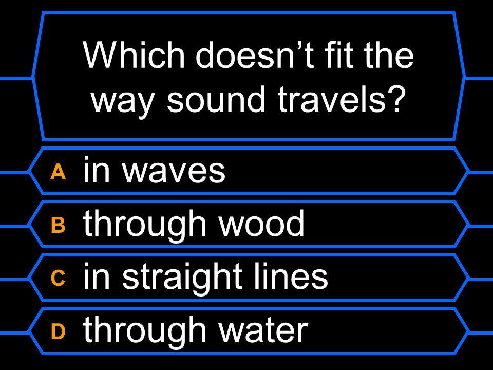 Which doesn't fit the way sound travels