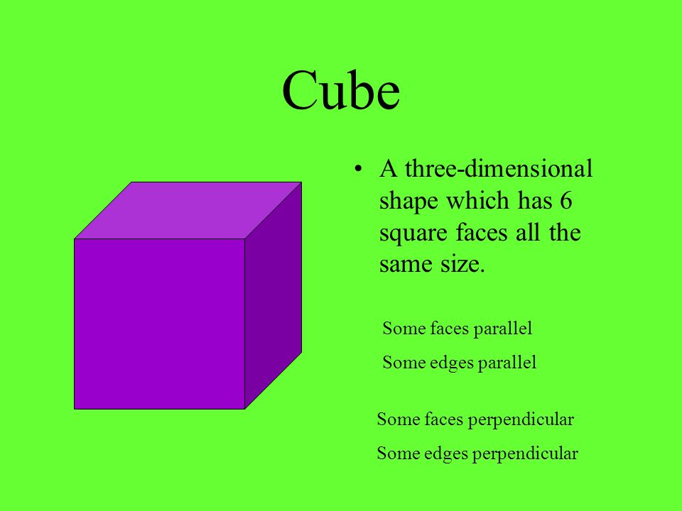 Cube A three-dimensional shape which has 6 square faces all the same size. Some faces parallel. Some edges parallel.