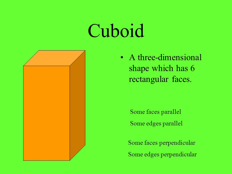 Cuboid A three-dimensional shape which has 6 rectangular faces.
