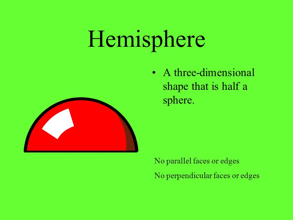 Hemisphere A three-dimensional shape that is half a sphere.
