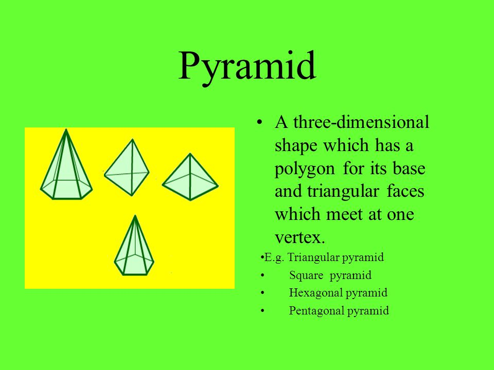 Pyramid A three-dimensional shape which has a polygon for its base and triangular faces which meet at one vertex.
