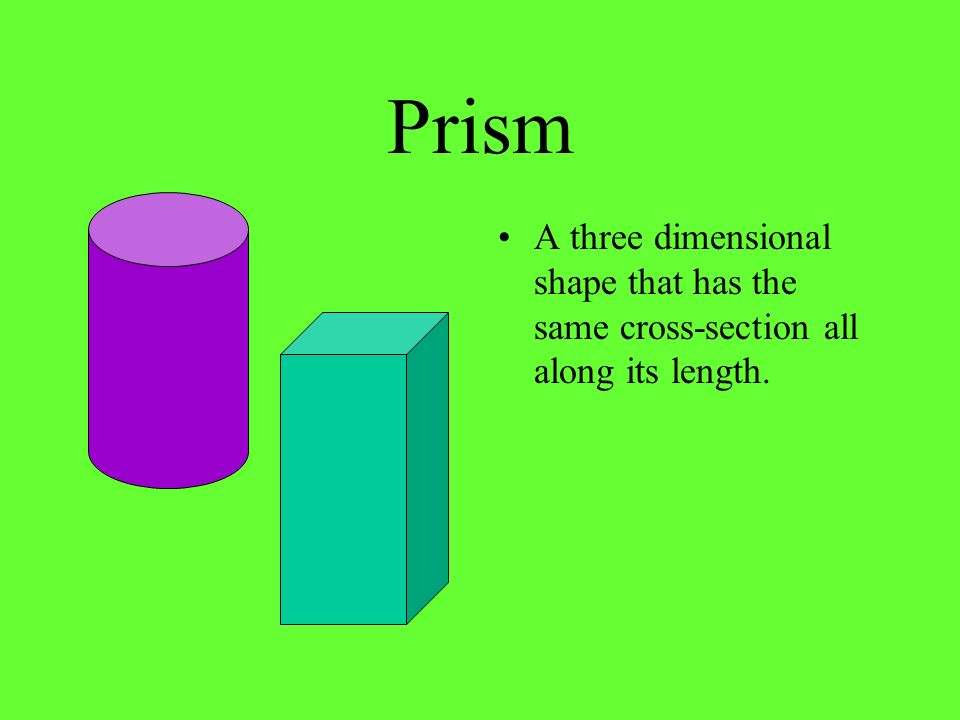 Prism A three dimensional shape that has the same cross-section all along its length.
