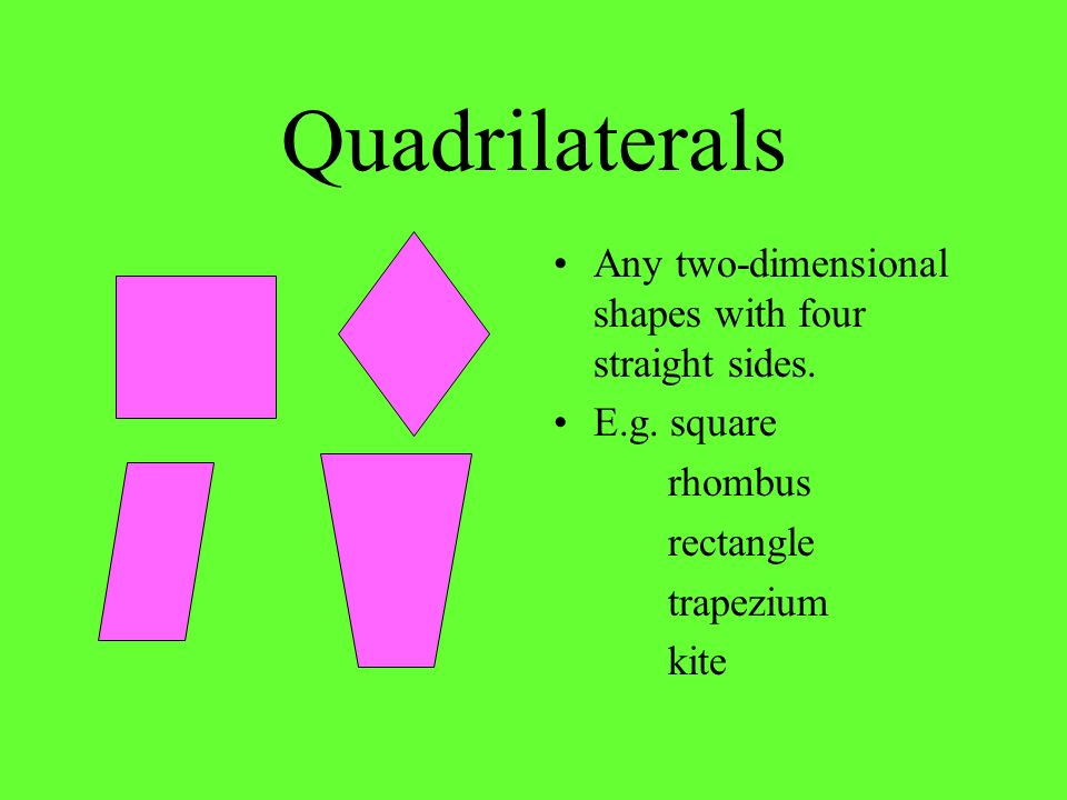 Quadrilaterals Any two-dimensional shapes with four straight sides.