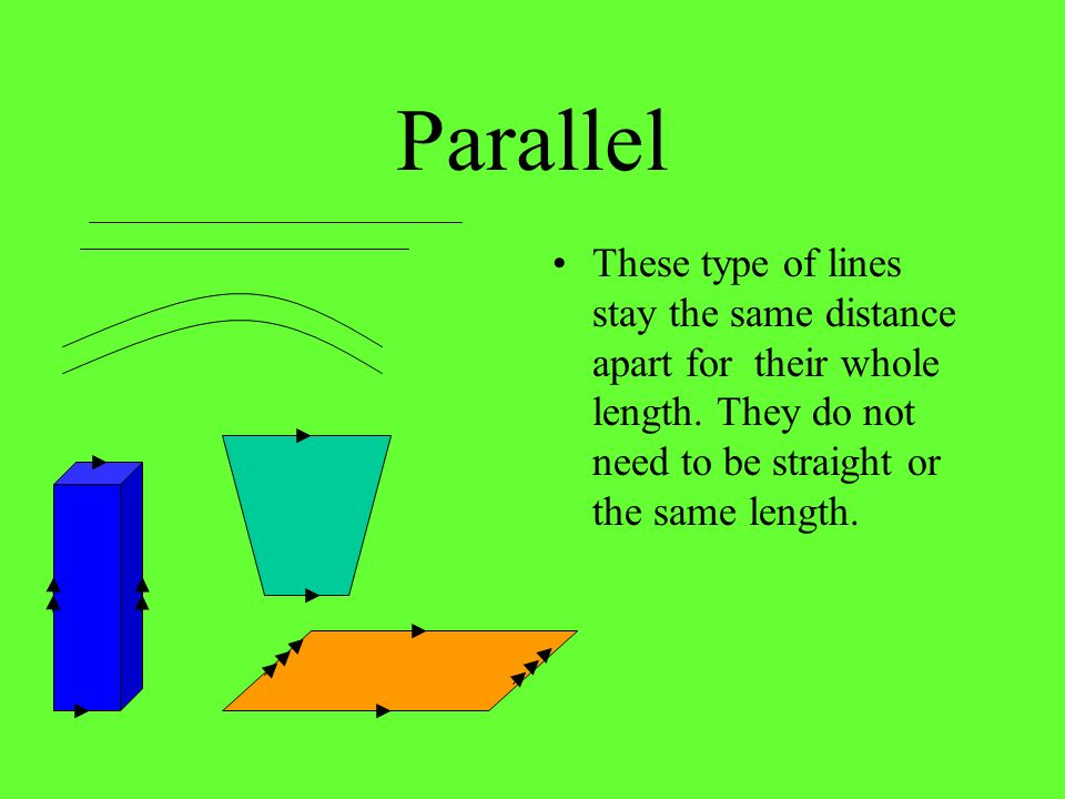 Parallel These type of lines stay the same distance apart for their whole length.