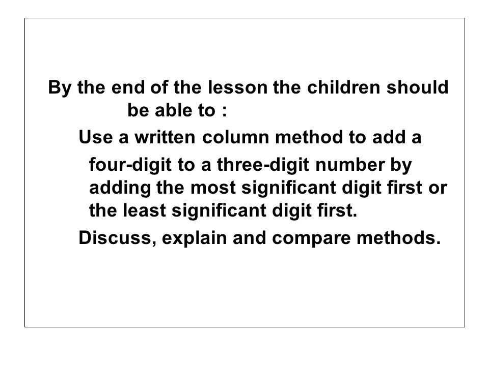 By the end of the lesson the children should be able to :