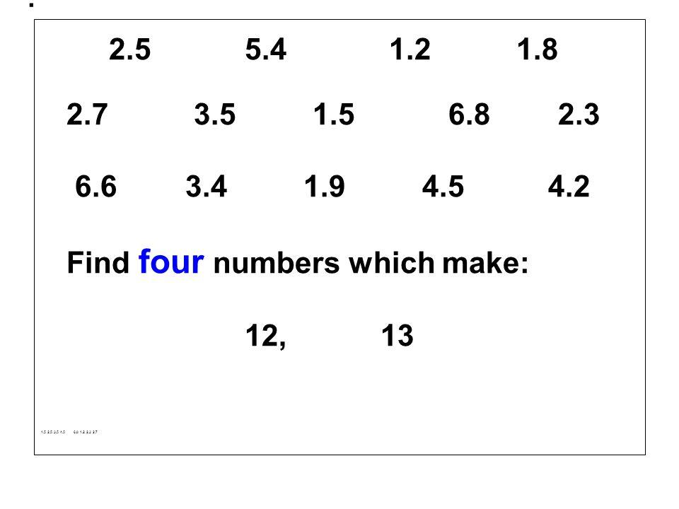 . 2.5 5.4 1.2 1.8. 2.7 3.5 1.5 6.8 2.3. 6.6 3.4 1.9 4.5 4.2.