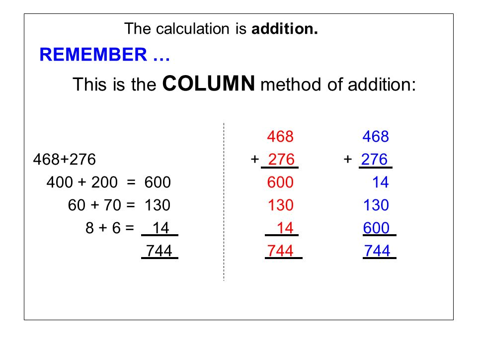 This is the COLUMN method of addition: