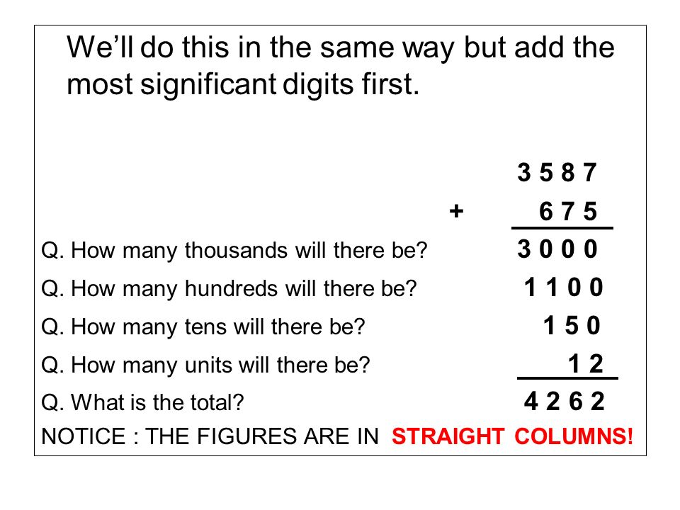We'll do this in the same way but add the most significant digits first.