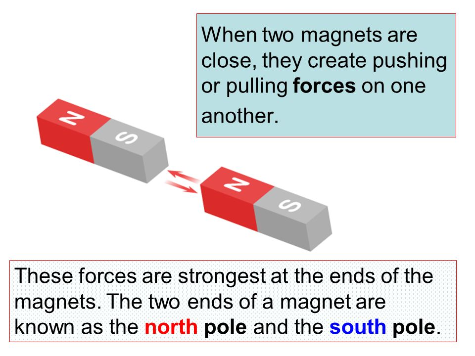 When two magnets are close, they create pushing or pulling forces on one another.