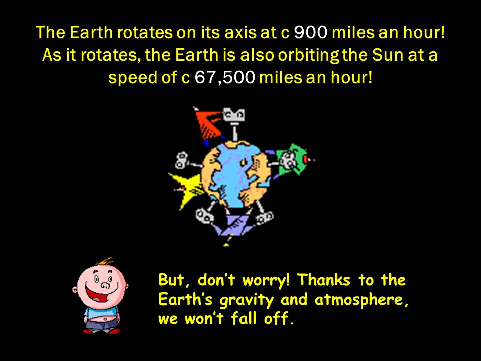 The Earth rotates on its axis at c 900 miles an hour