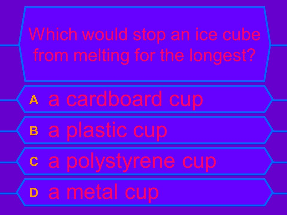 Which would stop an ice cube from melting for the longest