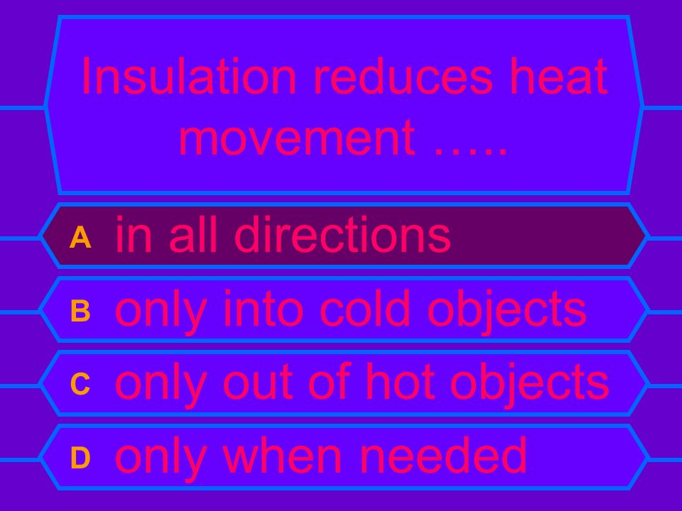Insulation reduces heat movement …..