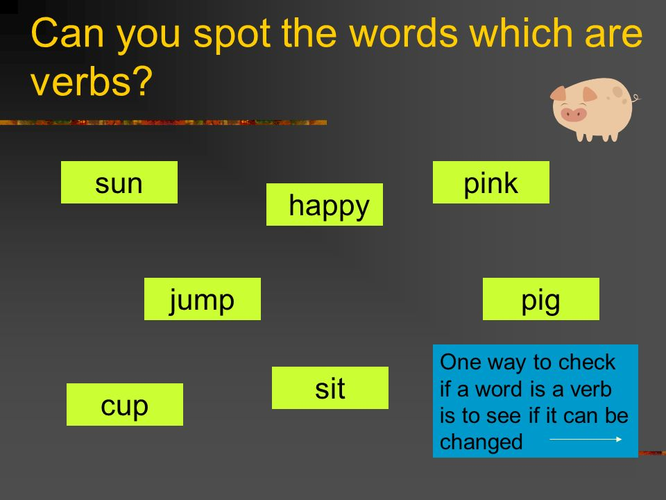 Can you spot the words which are verbs