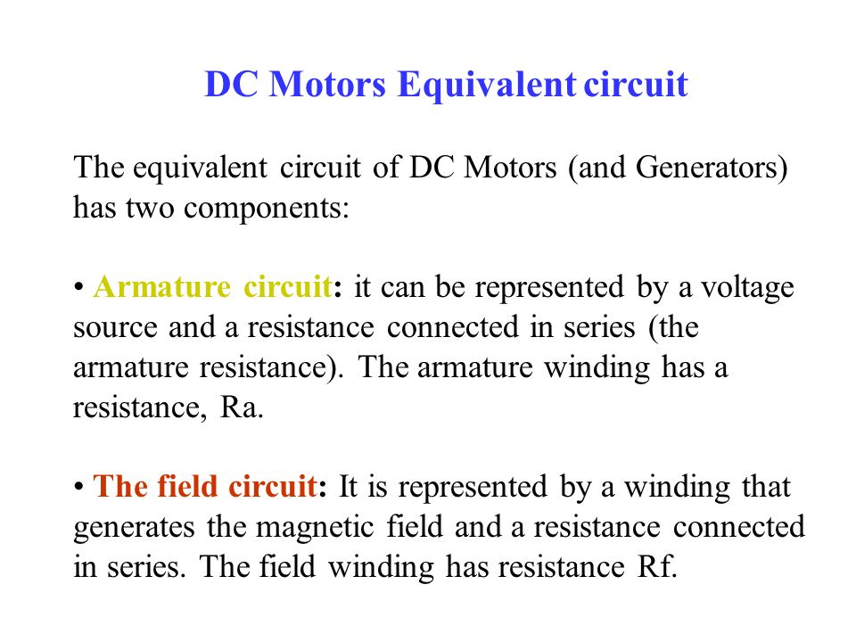 DC Motors Equivalent circuit