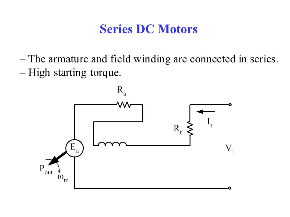 Series DC Motors – The armature and field winding are connected in series. – High starting torque.
