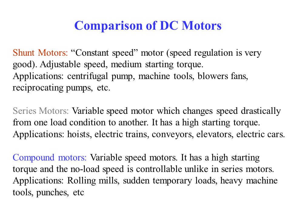 Comparison of DC Motors