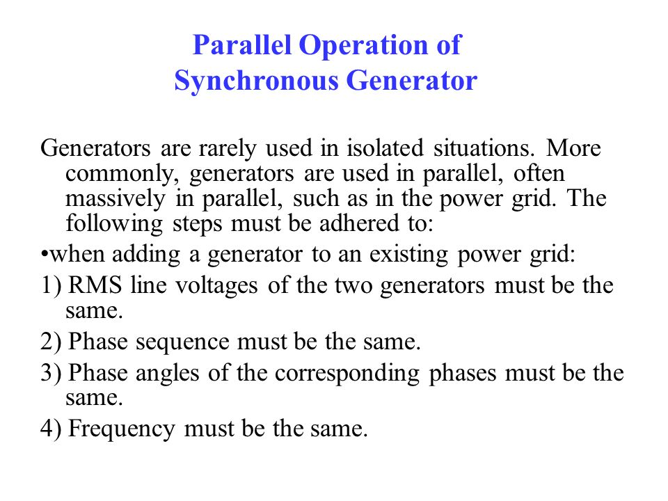 Parallel Operation of Synchronous Generator