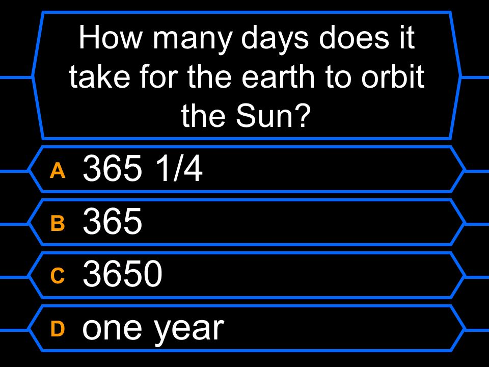 How many days does it take for the earth to orbit the Sun