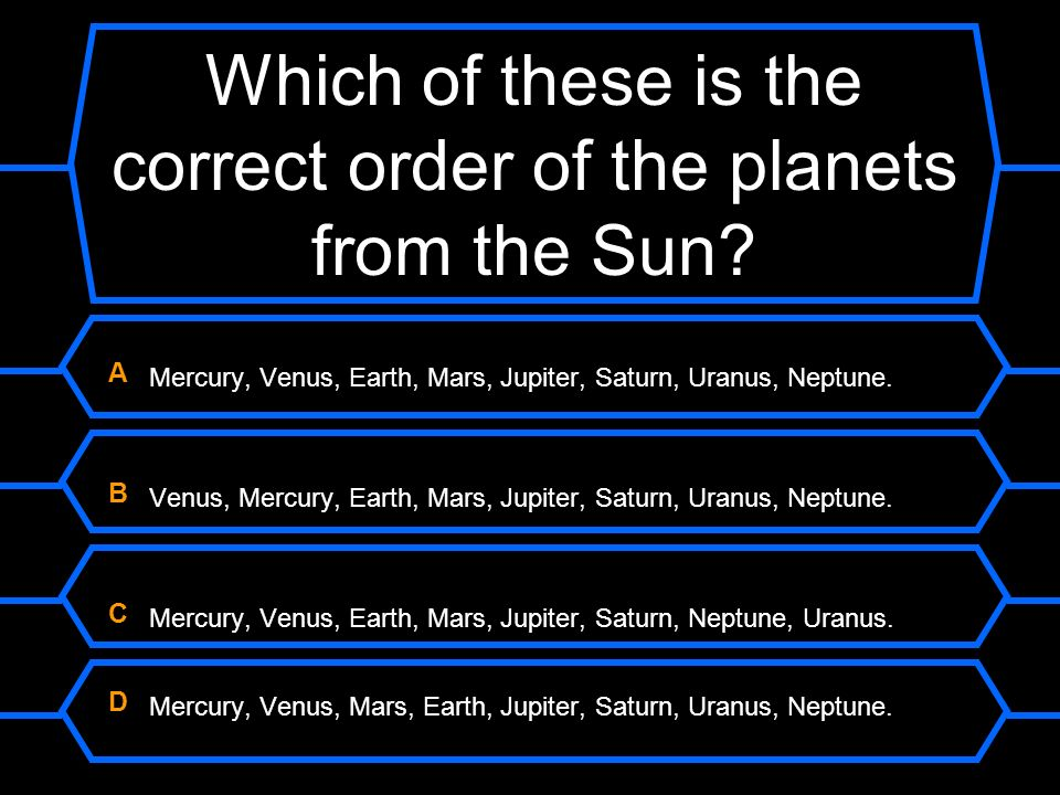 Which of these is the correct order of the planets from the Sun