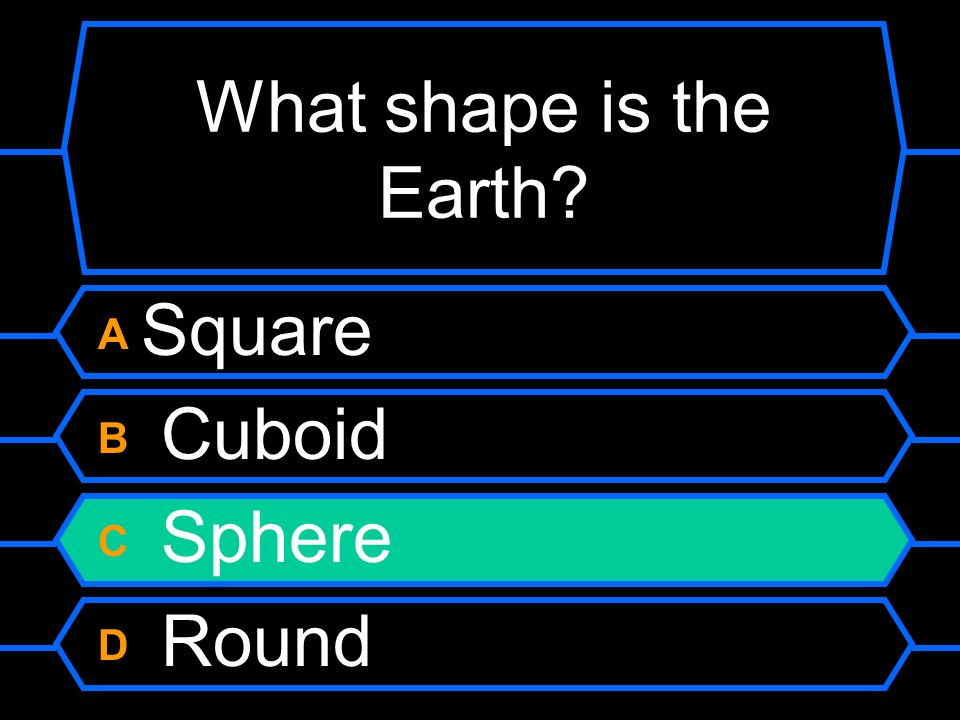 What shape is the Earth A Square B Cuboid C Sphere D Round