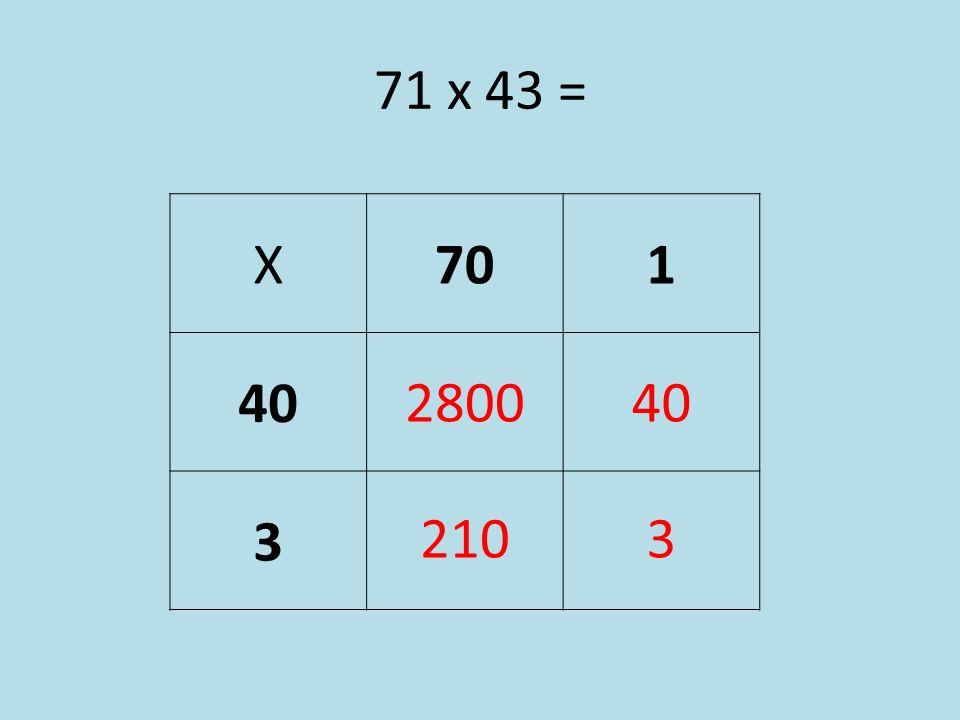 71 x 43 = X 70 1 40 3 2800 28 40 210 21 3