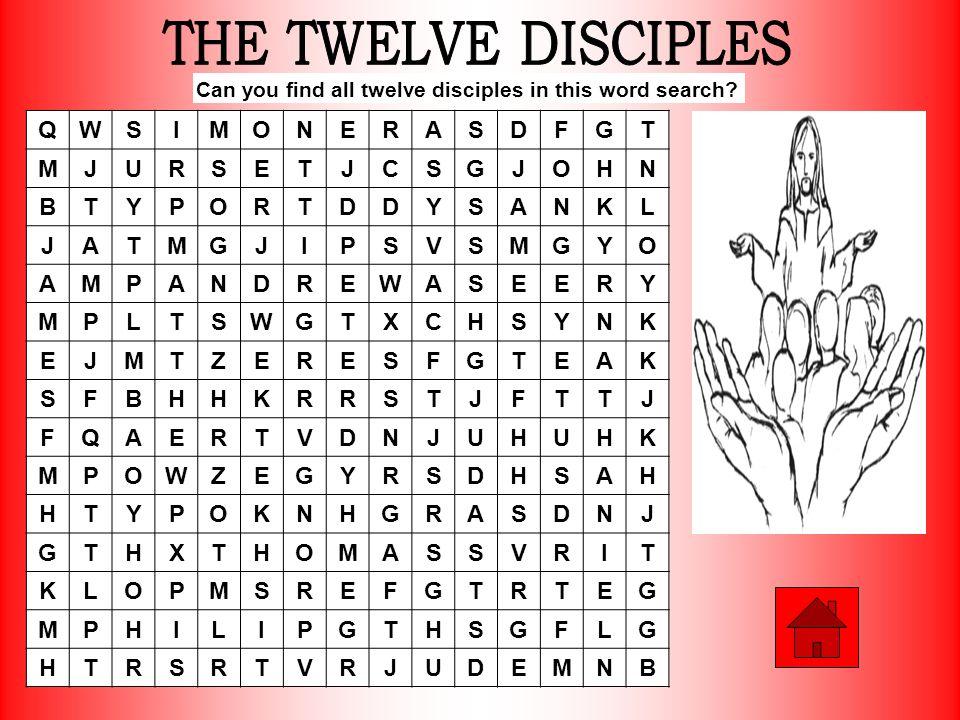 THE TWELVE DISCIPLES Q W S I M O N E R A D F G T J U C H B Y P K L V X