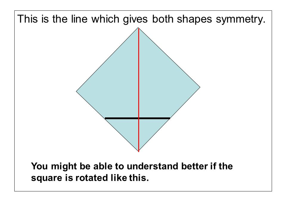 This is the line which gives both shapes symmetry.