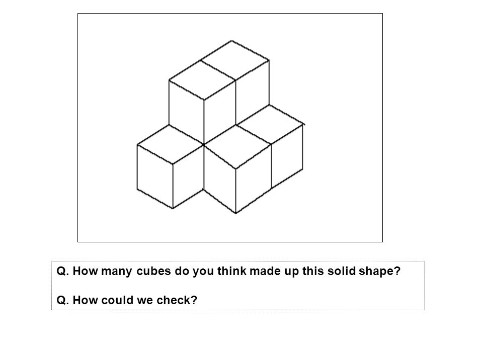 Q. How many cubes do you think made up this solid shape
