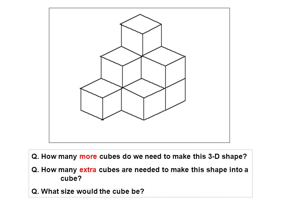 Q. How many more cubes do we need to make this 3-D shape