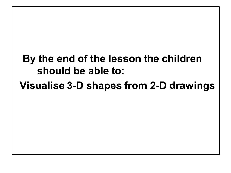 By the end of the lesson the children should be able to: