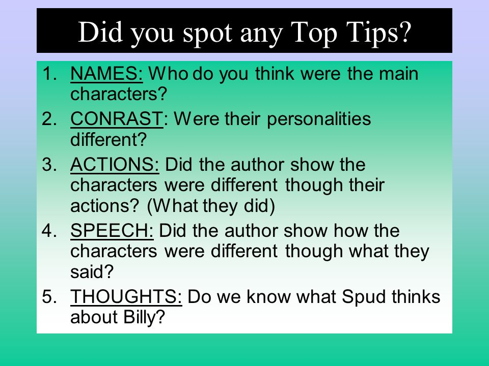 Did you spot any Top Tips